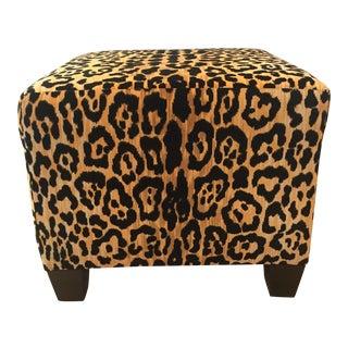 Leopard Cheetah Print Cherrywood Ottoman For Sale