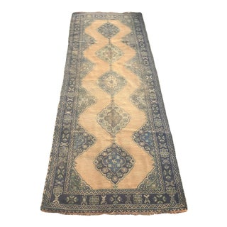 "Hand Made Vintage Turkish Oushak Runner- 4'7""x11'10"" For Sale"