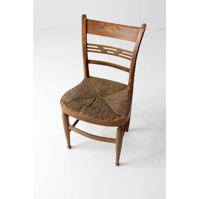 Antique Rush Seat Chair - Image 3 of 6