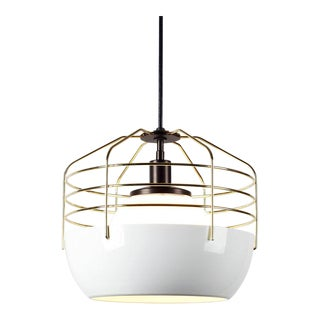 Roll and Hill Modern Gold and White Pendant Lights For Sale