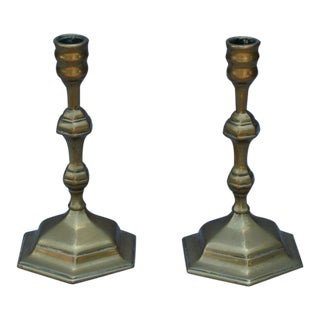 Pair of French Brass Candlesticks, 18th C. For Sale