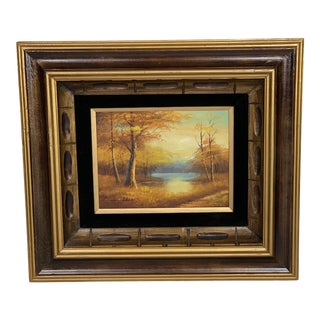 1970s Vintage Autumn Scene Framed Bob Ross Style Signed Painting For Sale
