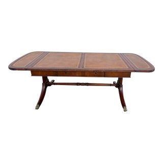 1940's Regency Style Leather Drop Leaf Coffee Table For Sale