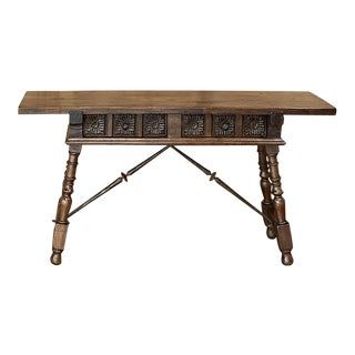 Spanish Walnut Sofa Table With Wrought Iron For Sale