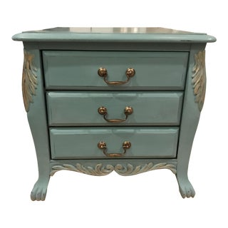 French Style 3 Drawer Blue Wooden Commode