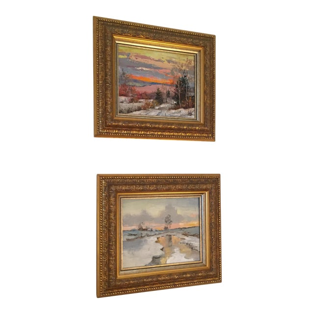 Russian Signed Oil on Canvas Paintings- Set of 2 - Image 1 of 6