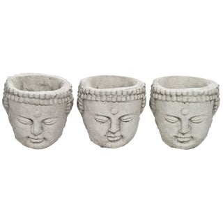 Cast Concrete Buddha Planters - Set of 3
