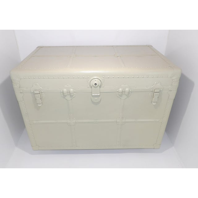 1800's Antique Steamer Trunk Storage Coffee Table Monochromatic Beige For Sale - Image 11 of 11