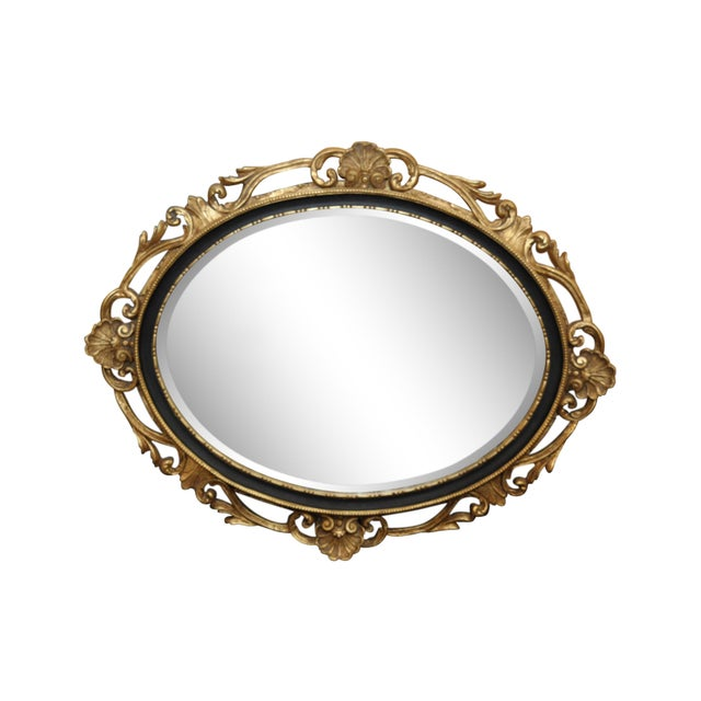 Oval Black & Giltwood Trim Mirror - Image 1 of 3