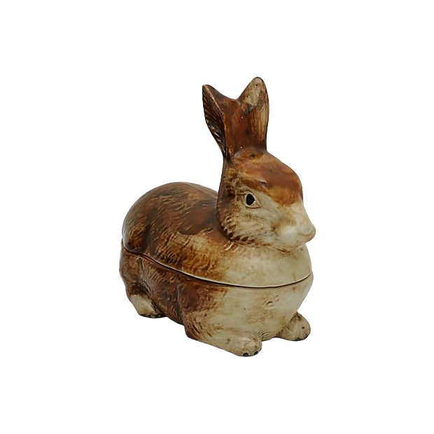 French Majolica Rabbit Pâté Tureen For Sale