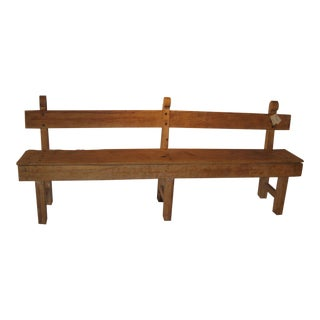 19th Century Vintage Mexican Colonial Sabino Wood Bench For Sale