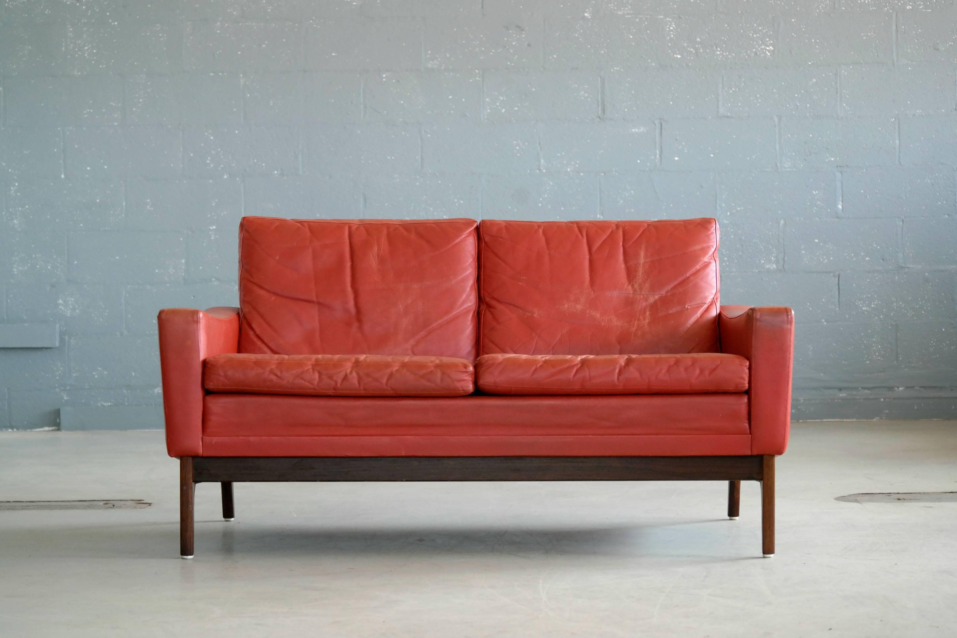 Sophisticated Classic Danish Mid Century Modern Sofa In Red Leather
