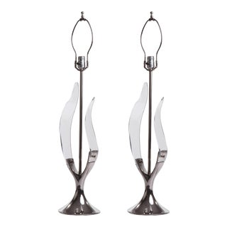 1970s Chrome Tulip Lucite Leaf Lamps by Laurel Lamp Company - a Pair For Sale