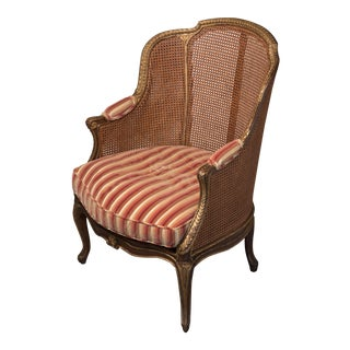 French Caned & Gilt Wood Armchair For Sale