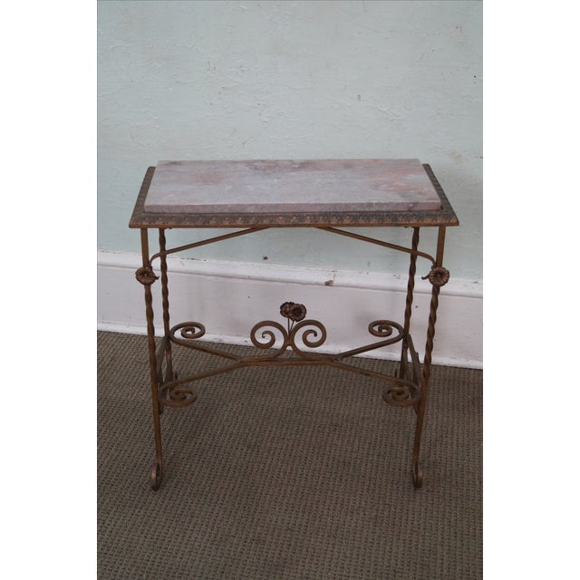 Antique Wrought Iron Marble Top Side Table - Image 2 of 10
