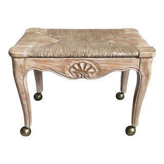 Vintage French Louis XV Limed Oak Rush Shell Stool For Sale