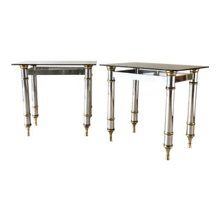 Pair of Polished Aluminium and Brass Console Tables 1970s For Sale