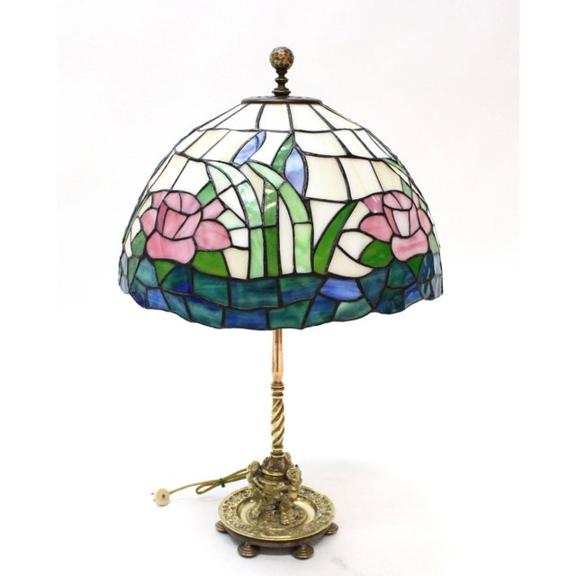 Tiffany Style Stained Glass Lamp For Sale - Image 6 of 6