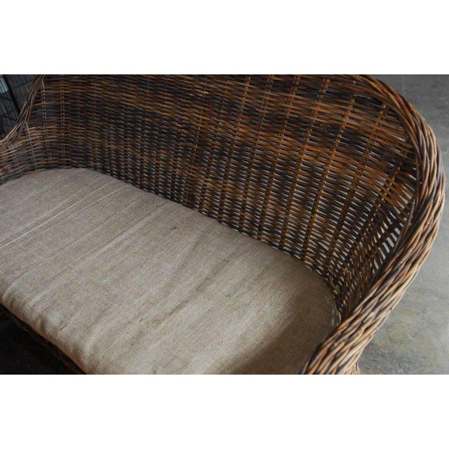 Organic Modern Woven Rattan and Wicker Settee For Sale - Image 9 of 9