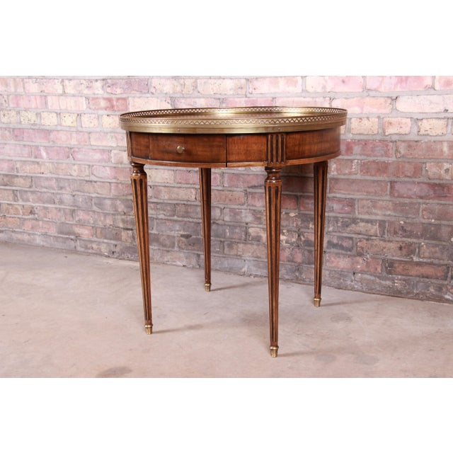 Baker Furniture Company Baker Furniture French Regency Louis XVI Walnut Tea Table For Sale - Image 4 of 13