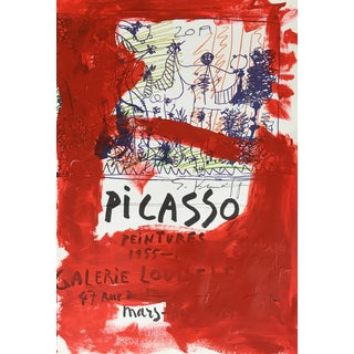 Abstract Framed Picasso Poster Painting by Sean Kratzert, 'Red Pico' For Sale