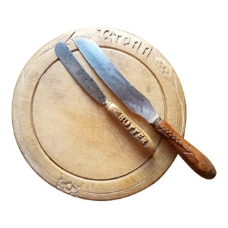 Late 19th Century Victoran Bread Board With Bread Knife and Butter Knife - 3 Pieces For Sale