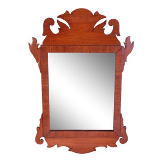 Antique American Mahogany Scroll Cut Mirror For Sale
