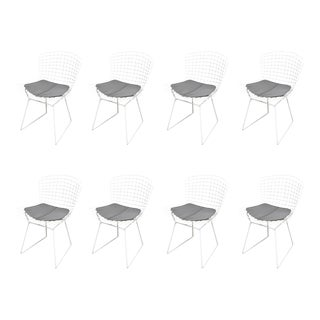 Set of Eight Bertoia Chairs with Leather Knoll Cushions, USA, 1960s