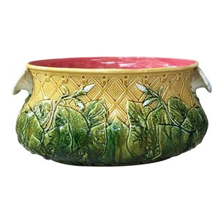 Late 19th Century Antique Majolica Morning Glory Jardiniere For Sale