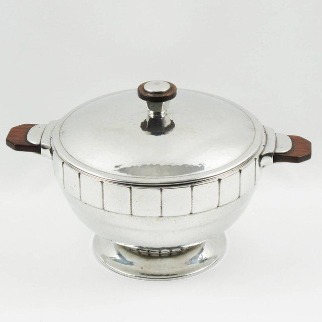 Lovely Art Deco embossed polished pewter tureen, covered dish by H. J. Swiss Pewter. Elegant modernist shape with detailed...