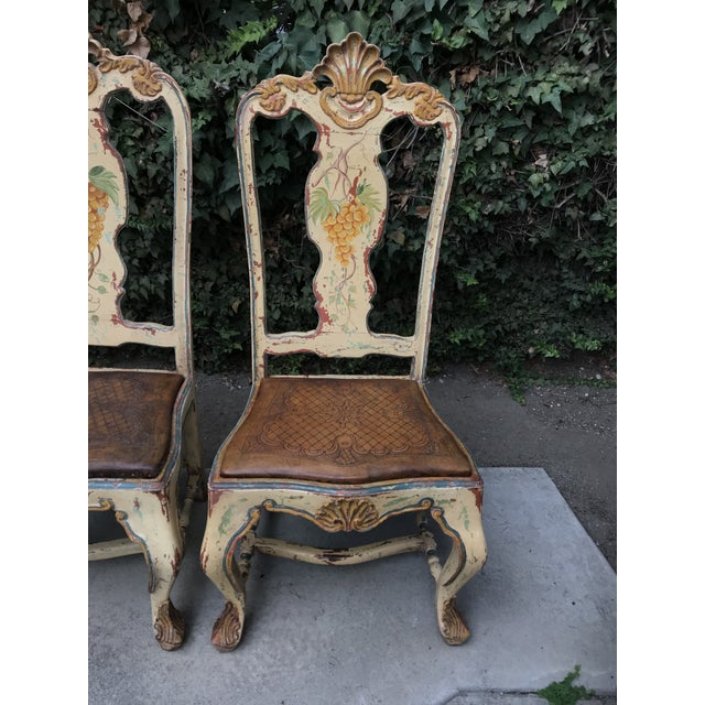 Late 18 C. Italian Carved and Handpainted Chairs - Set of 3 For Sale - Image 10 of 13