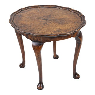 Antique English Burr Walnut Low Side Table For Sale