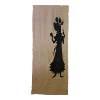 Screen Print Silhouette on Burlap Panel For Sale