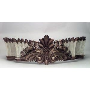 Carousel style (19th Cent) large carved and painted wall plaque (valance) with crown shape and geometric design