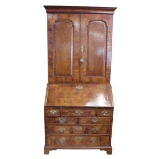 18th Century English Traditional Walnut Burl Secretary For Sale