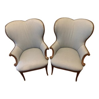 Antique Valentine Wing Back Chairs - A Pair For Sale