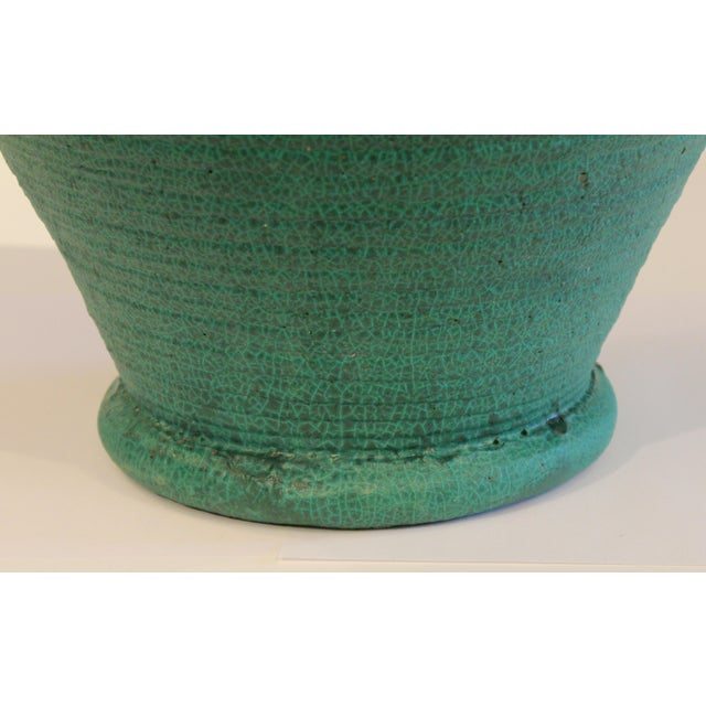 Ceramic Large Merrimac Pottery Vase Antique Matt Green American Arts & Crafts For Sale - Image 7 of 10