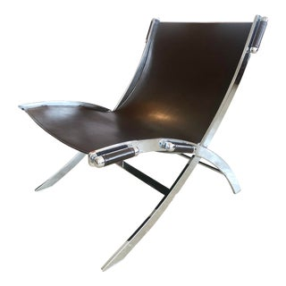 Antonio Citterio Style Timeless Leather + Chrome Lounge Chair for Flexform For Sale