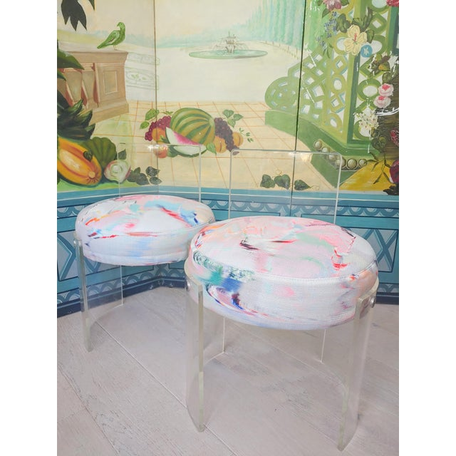 Textile Casati & Ponzio for Comfort Italy Lucite Barrel Chairs - a Pair For Sale - Image 7 of 8