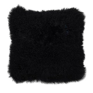 """Black Mongolian Fur Pillow 18""""x18"""""""