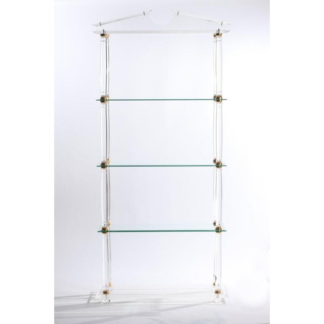 Neoclassic Modern Lucite and Brass Etagere For Sale In New York - Image 6 of 8