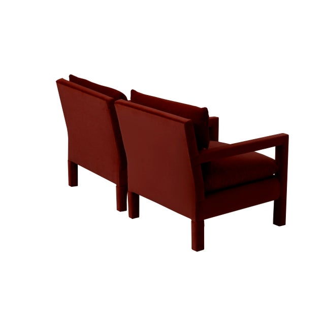 Americana Stunning Pair of Parsons Armchairs in Ruby Mohair Velvet For Sale - Image 3 of 7