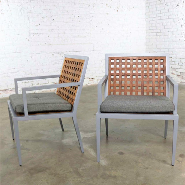Pair of Aluminum and Teak Archetype Patio Chairs by Michael Vanderbyl for McGuire For Sale - Image 13 of 13