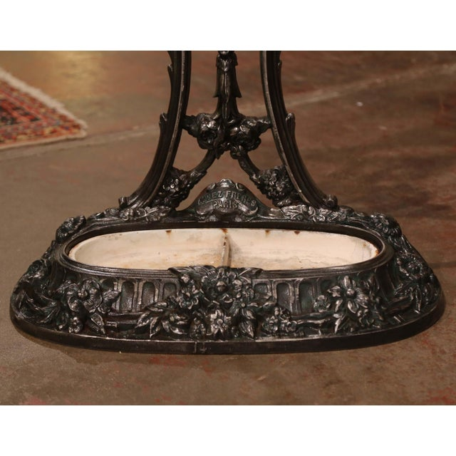 French 19th Century French Polished Cast Iron Hall Stand Signed Allez Freres, Paris For Sale - Image 3 of 13