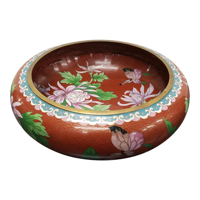Circa 1970 Chinese Cloisonne and Brass Floral/Butterfly Motifs Brush Washer Bowl For Sale