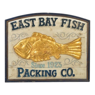 Vintage 1990s East Bay Fish Packing Wood Sign For Sale