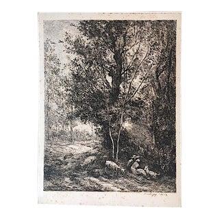 Le Berger Et La Bergère 1874 Etching Print by Charles Francois Daubigny For Sale
