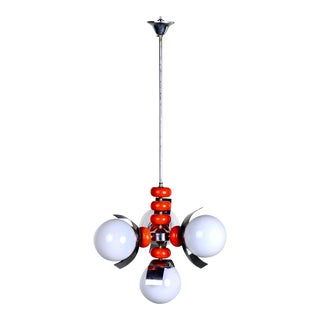 Mid Century Mazzega Italian Chrome and Red Four Light Fixture For Sale