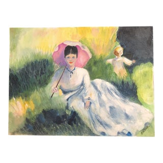 Lisa Burris Painting of a Victorian Woman and Child in a Meadow