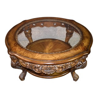 1980s Tuscan Schnadig Carved Burl & Inlaid Round Glass Top Coffee Table For Sale